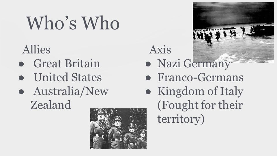 Who's Who Allies Great Britain United States Australia/New Zealand