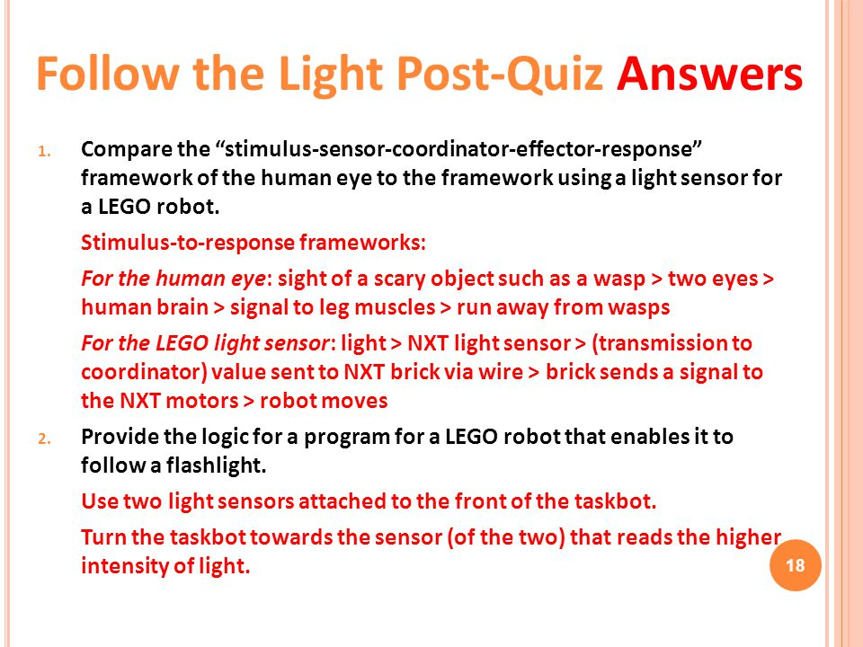 Follow the Light Post-Quiz Answers