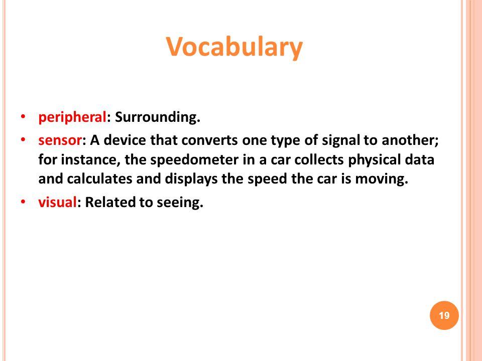 Vocabulary peripheral: Surrounding.