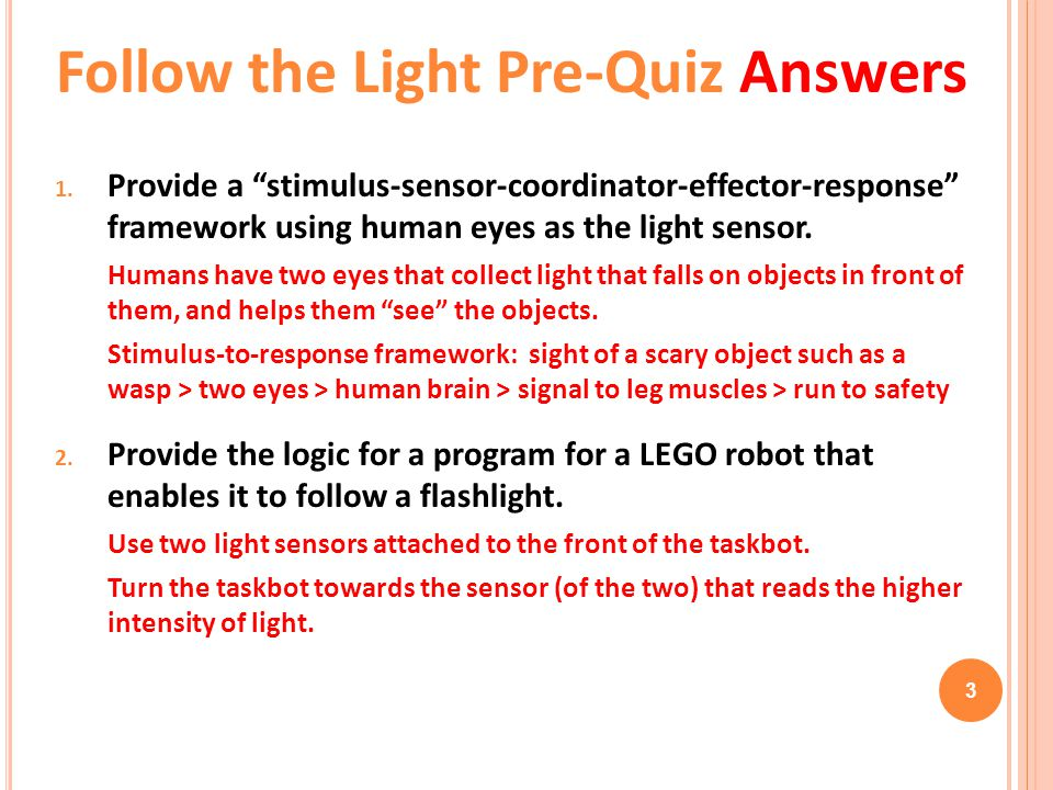Follow the Light Pre-Quiz Answers