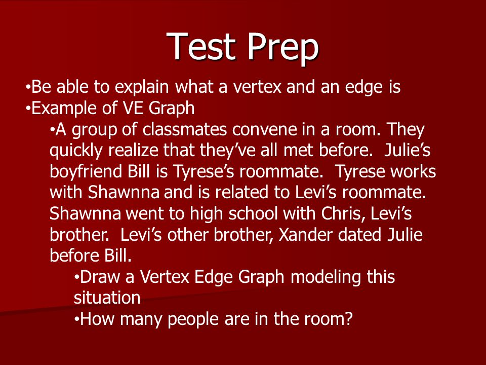 Test Prep Be able to explain what a vertex and an edge is