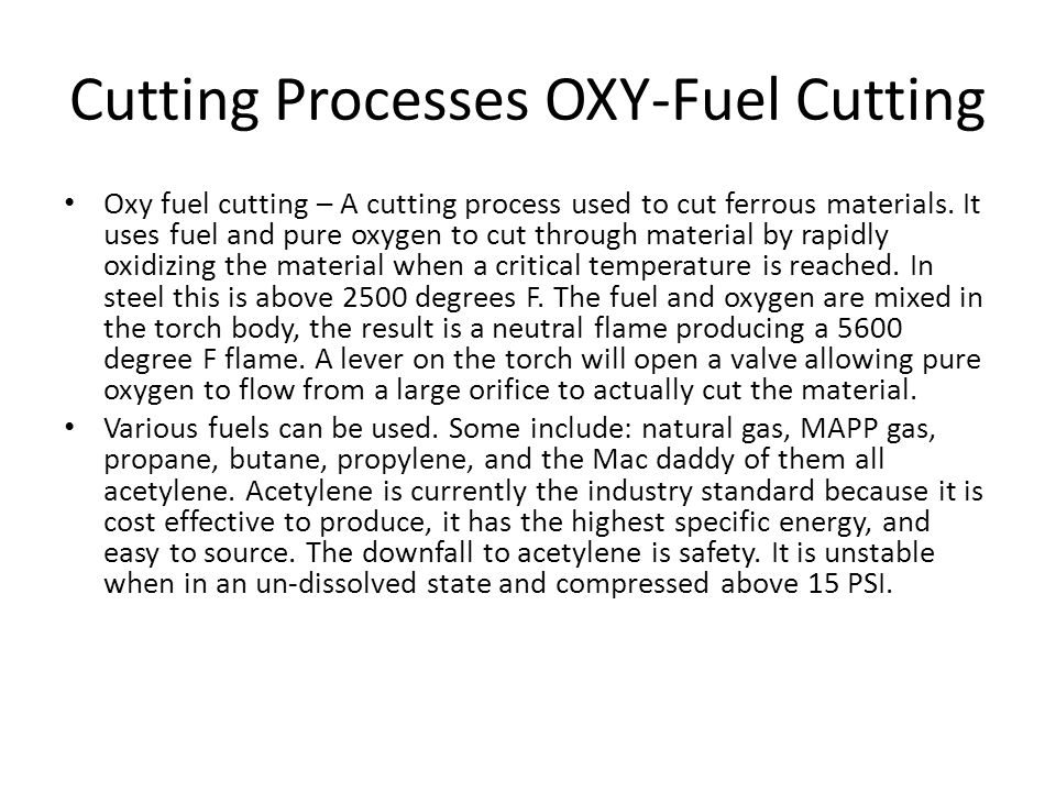 Cutting Processes OXY-Fuel Cutting