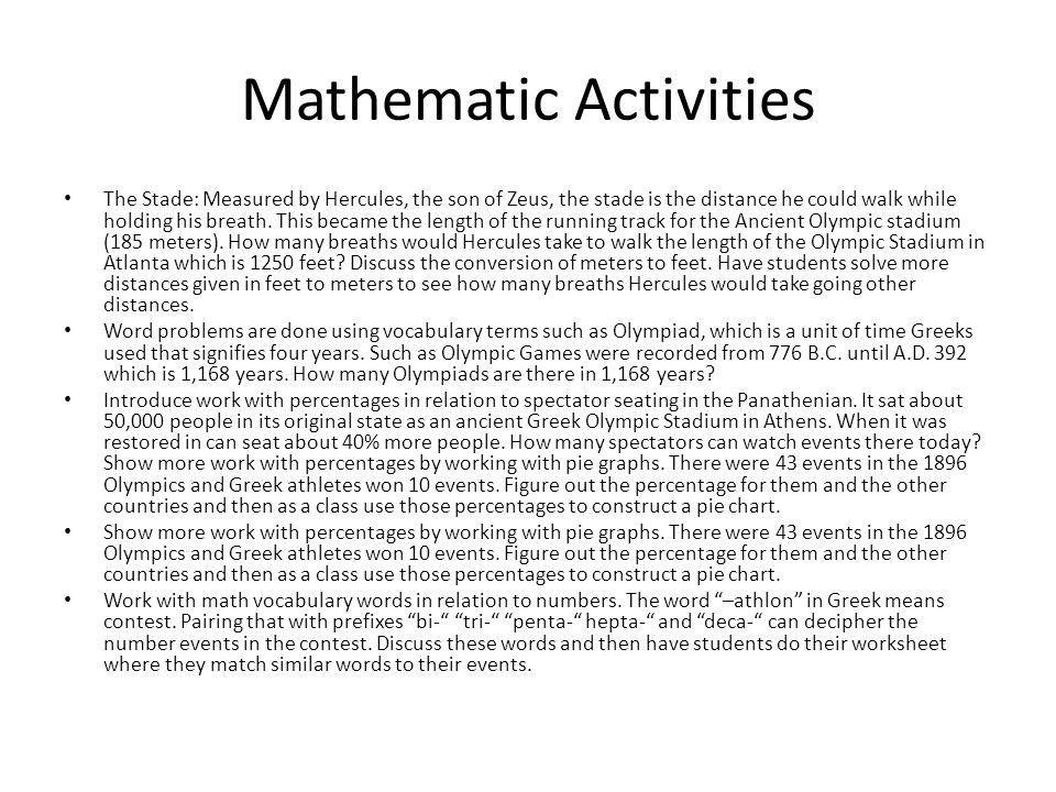 Mathematic Activities