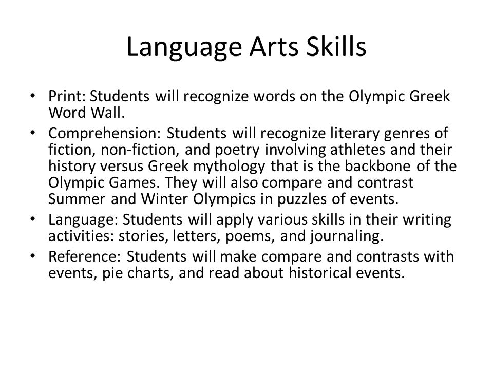 Language Arts Skills Print: Students will recognize words on the Olympic Greek Word Wall.