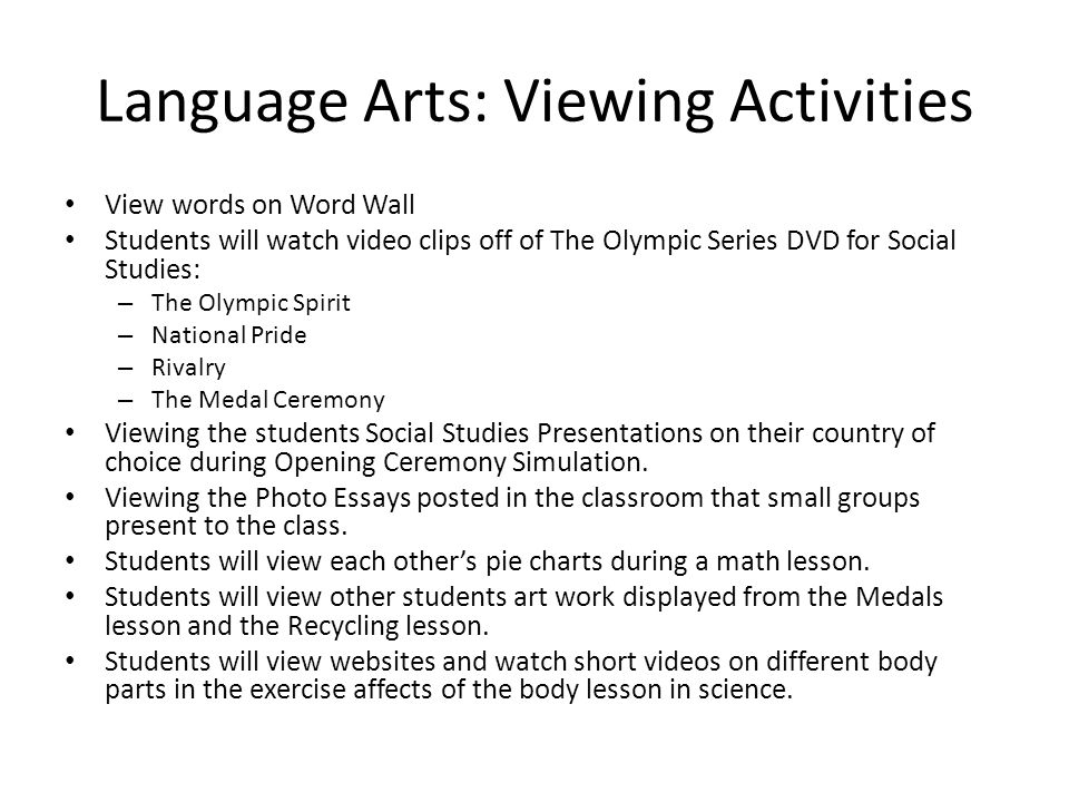 Language Arts: Viewing Activities