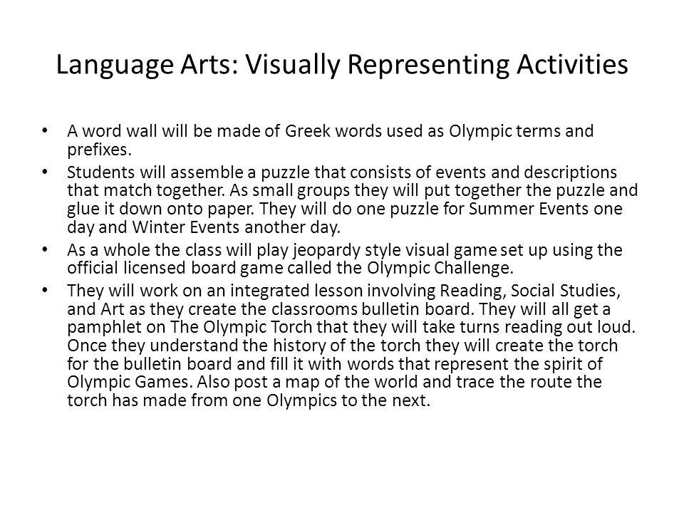Language Arts: Visually Representing Activities