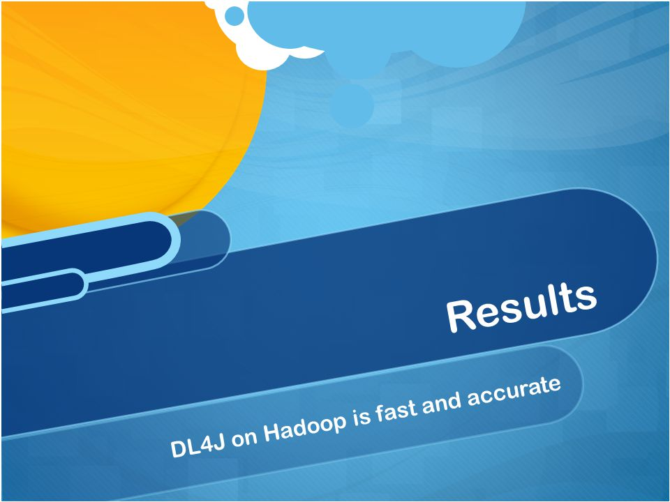 Results DL4J on Hadoop is fast and accurate