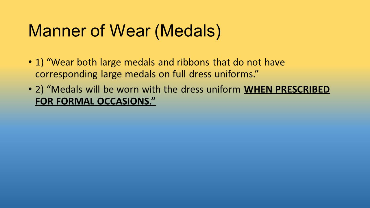 Manner of Wear (Medals)