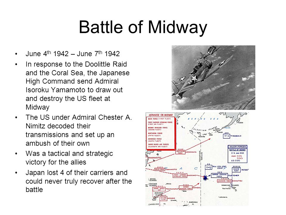 Battle of Midway June 4th 1942 – June 7th 1942