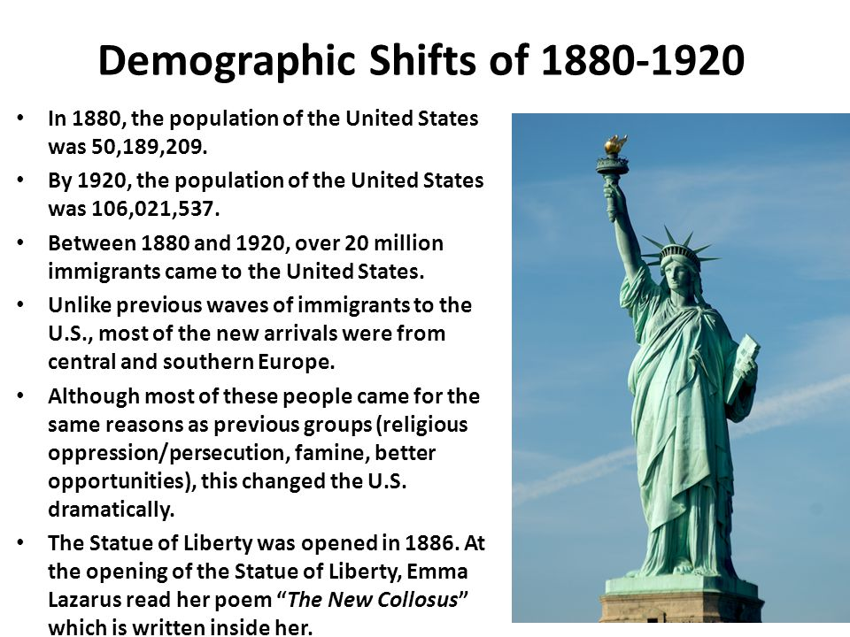 Demographic Shifts of 1880-1920