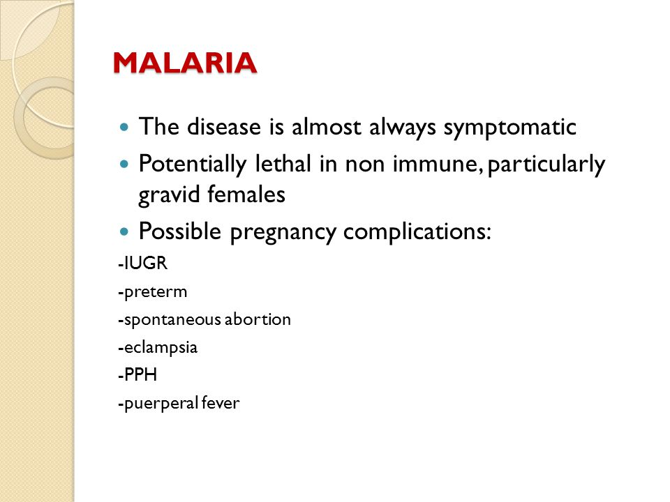 MALARIA The disease is almost always symptomatic