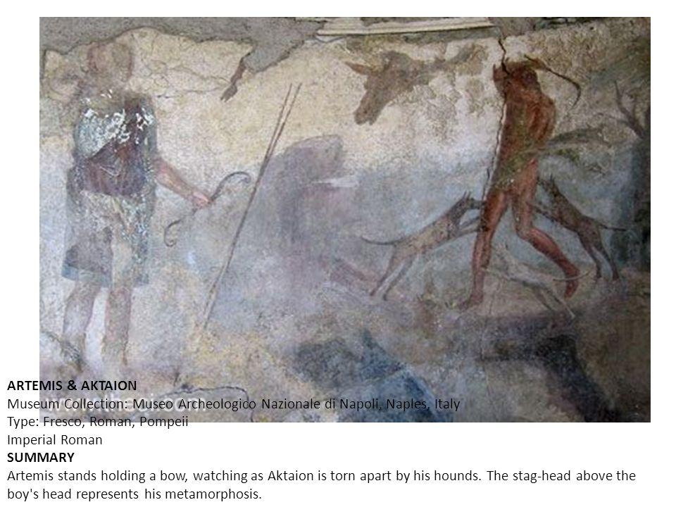ARTEMIS & AKTAION Museum Collection: Museo Archeologico Nazionale di Napoli, Naples, Italy Type: Fresco, Roman, Pompeii Imperial Roman.