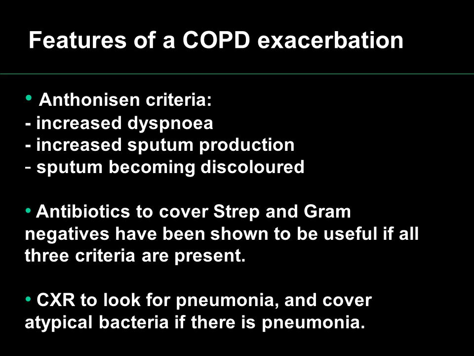 Features of a COPD exacerbation