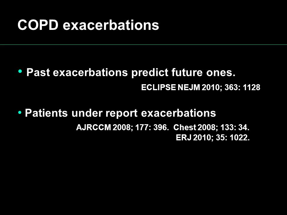 COPD exacerbations Past exacerbations predict future ones.
