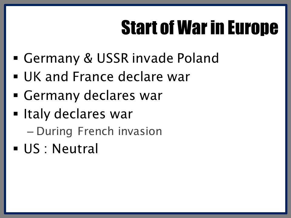 Start of War in Europe Germany & USSR invade Poland