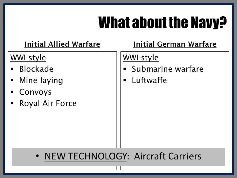 Initial Allied Warfare Initial German Warfare