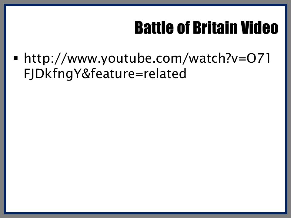Battle of Britain Video