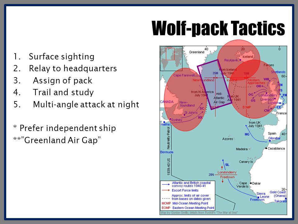 Wolf-pack Tactics 1. Surface sighting 2. Relay to headquarters