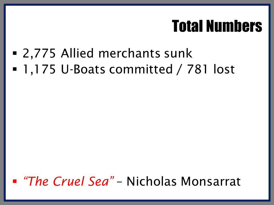 Total Numbers 2,775 Allied merchants sunk