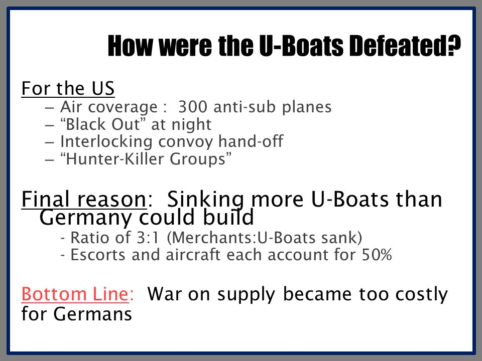 How were the U-Boats Defeated