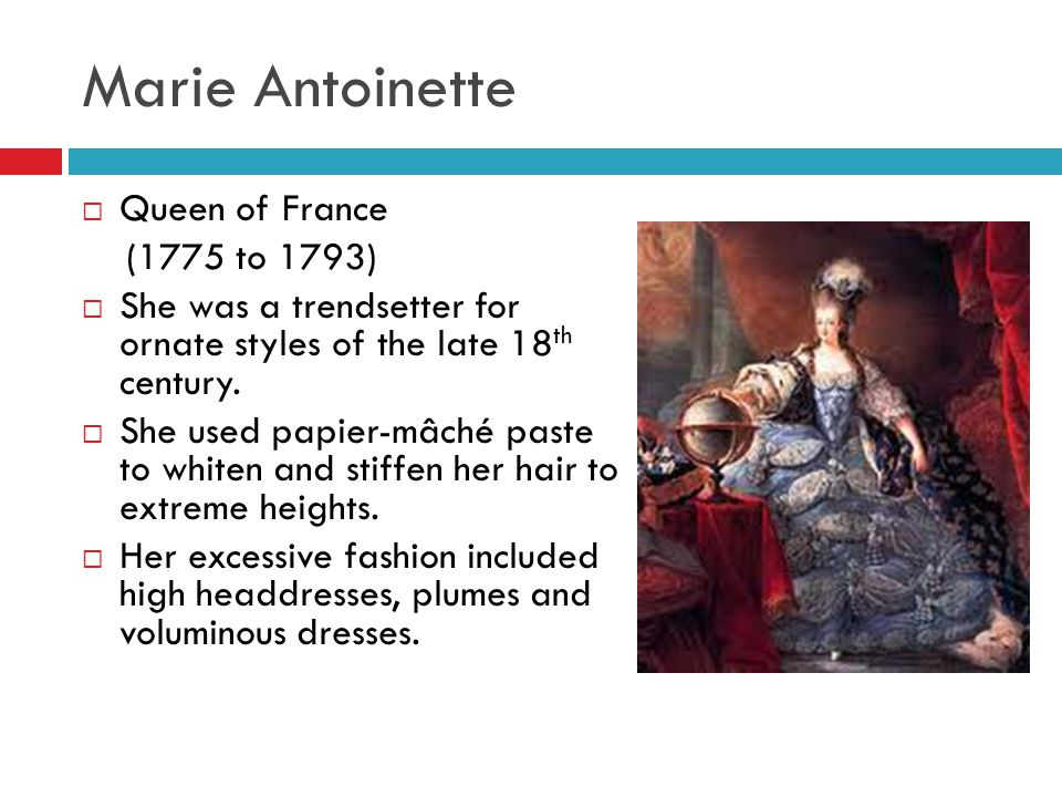 Marie Antoinette Queen of France (1775 to 1793)