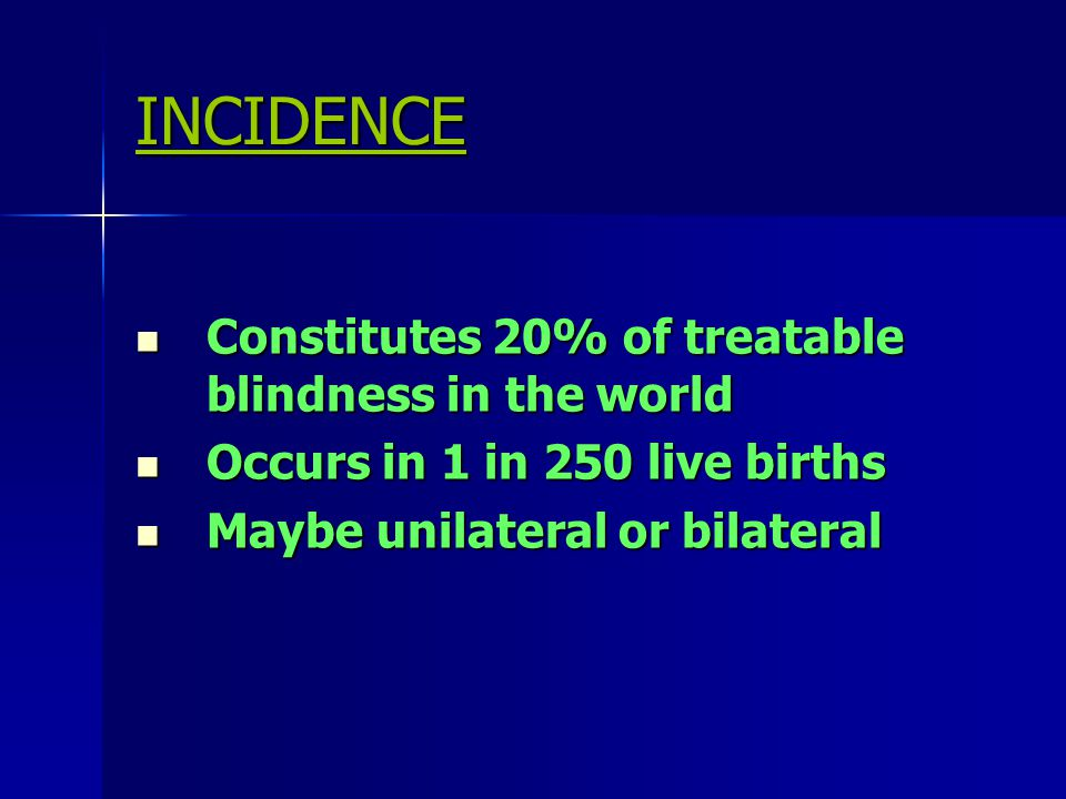 INCIDENCE Constitutes 20% of treatable blindness in the world