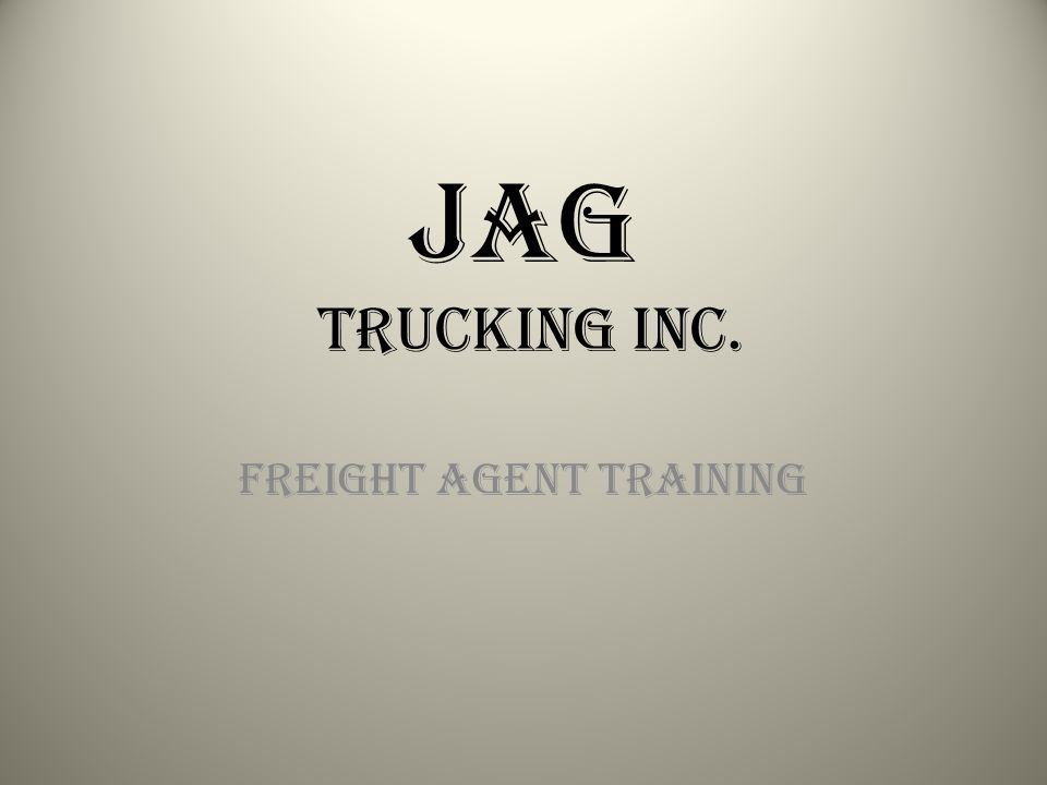 Freight Agent Training