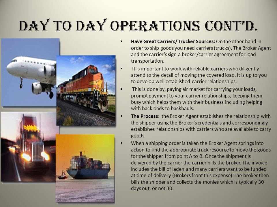 Day to Day Operations Cont'd.