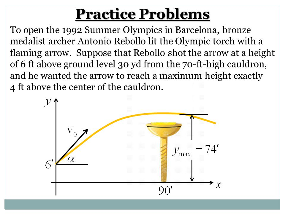 Practice Problems To open the 1992 Summer Olympics in Barcelona, bronze. medalist archer Antonio Rebollo lit the Olympic torch with a.