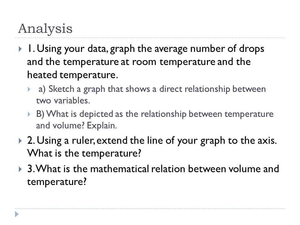 Analysis 1. Using your data, graph the average number of drops and the temperature at room temperature and the heated temperature.