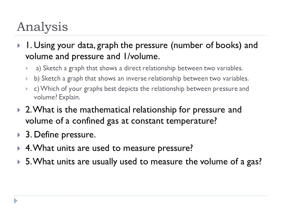 Analysis 1. Using your data, graph the pressure (number of books) and volume and pressure and 1/volume.