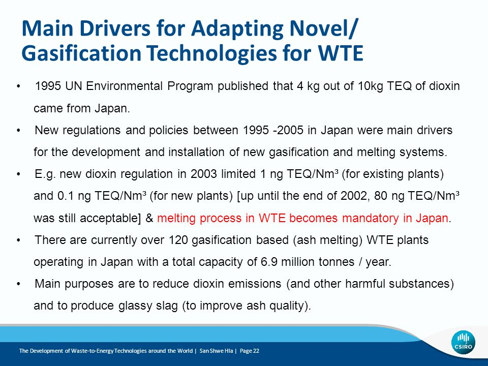 Main Drivers for Adapting Novel/ Gasification Technologies for WTE