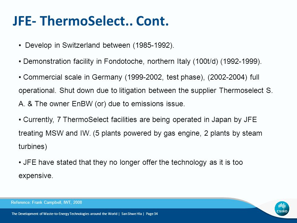 JFE- ThermoSelect.. Cont.