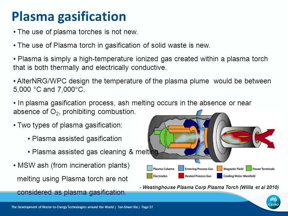 Plasma gasification The use of plasma torches is not new.