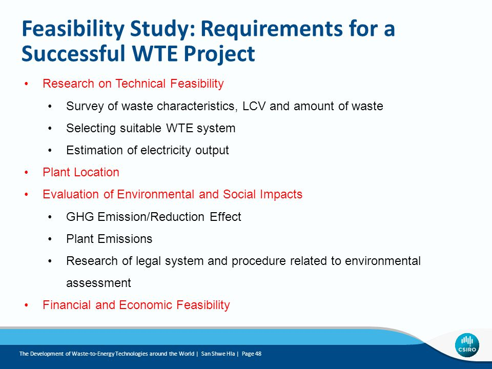 Feasibility Study: Requirements for a Successful WTE Project