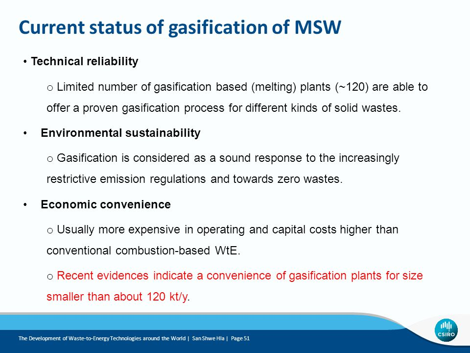 Current status of gasification of MSW