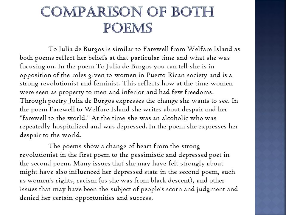 COMPARISON OF BOTH POEMS