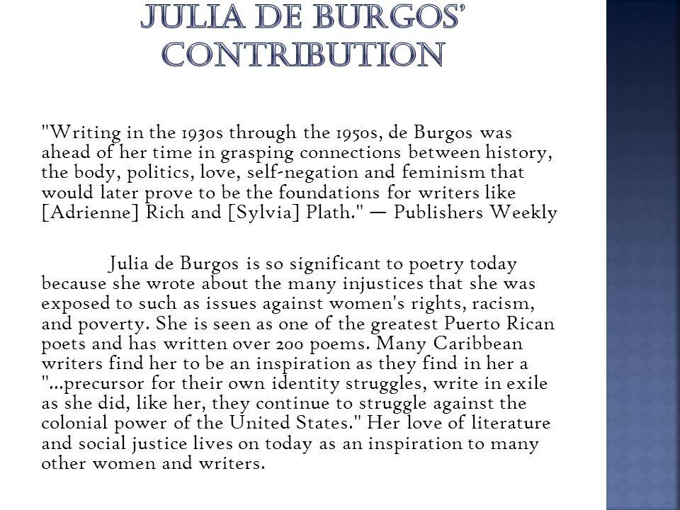 JULIA DE BURGOS' CONTRIBUTION