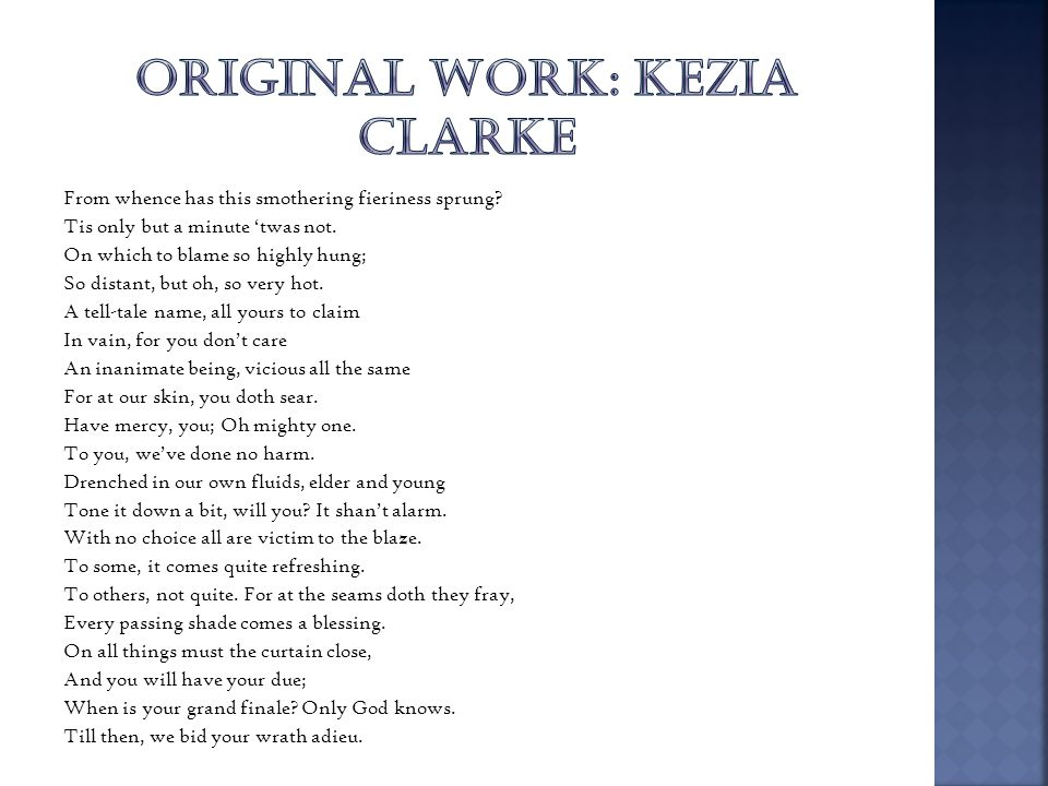 ORIGINAL WORK: KEZIA CLARKE