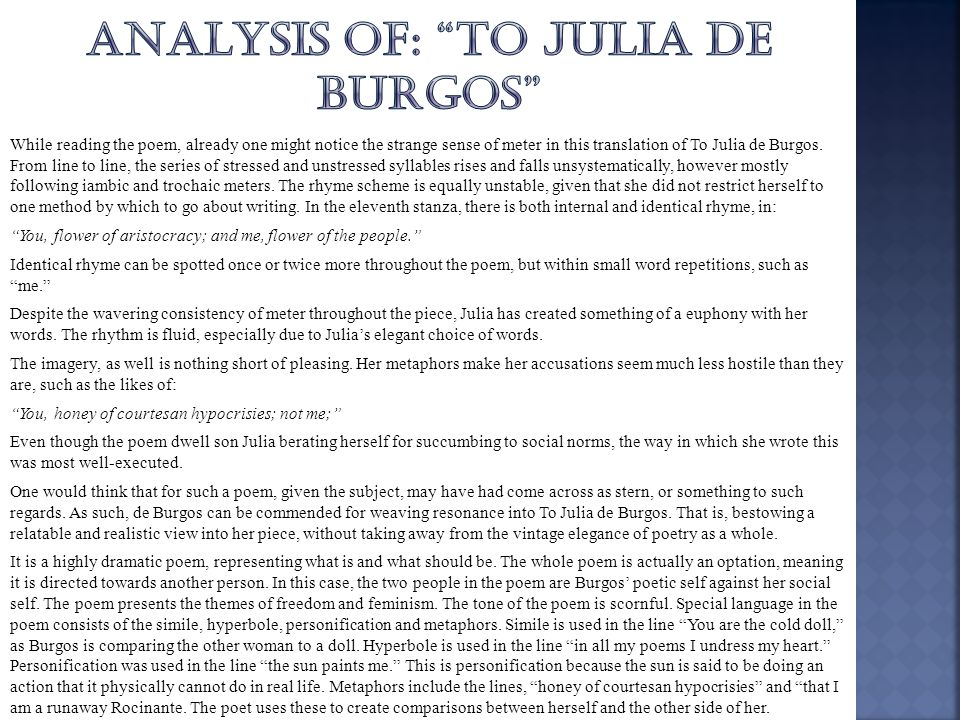 Analysis of: to julia de burgos