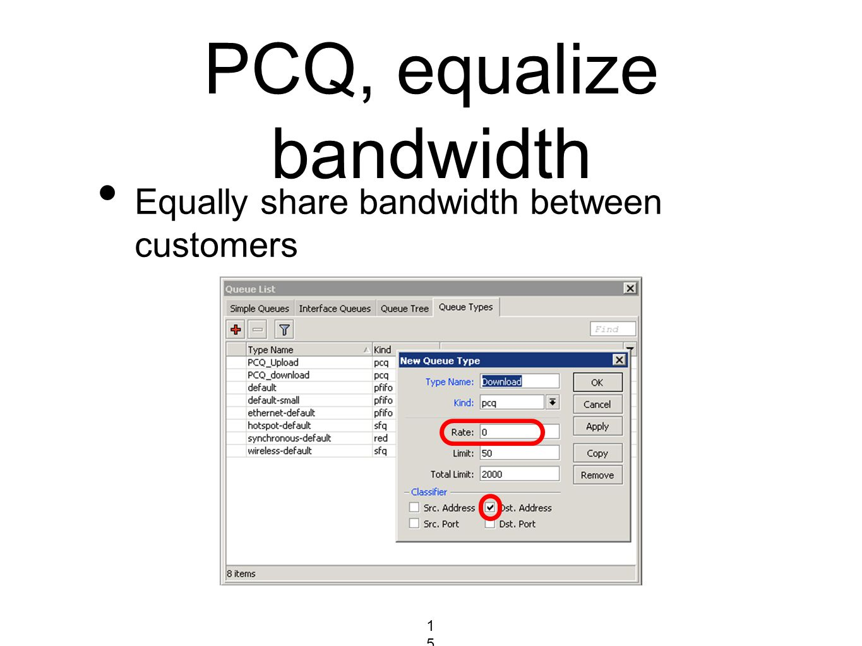 PCQ, equalize bandwidth