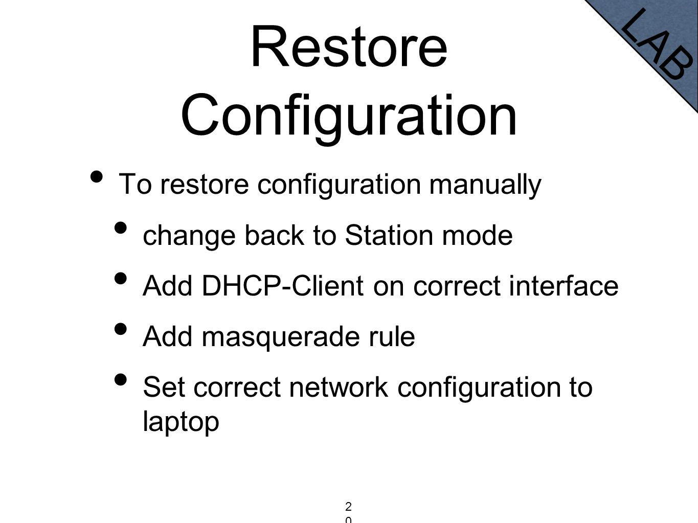 Restore Configuration