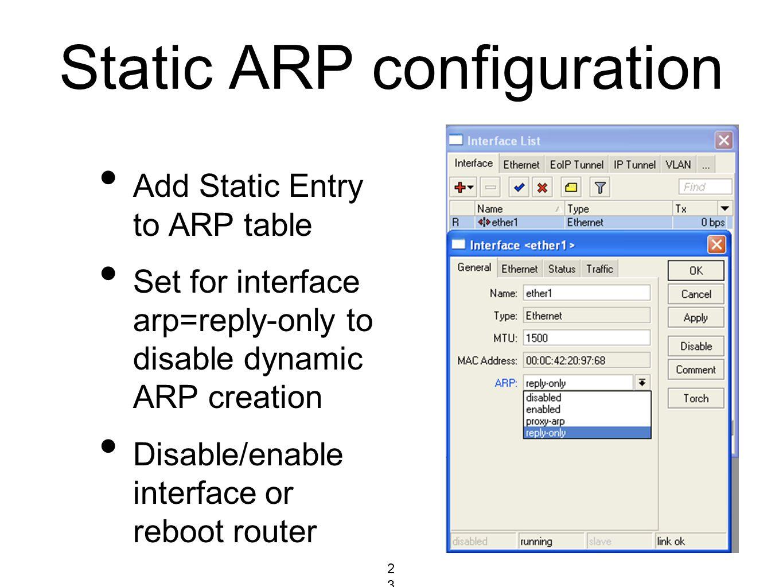 Static ARP configuration