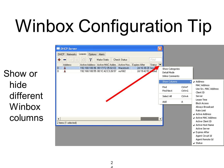 Winbox Configuration Tip