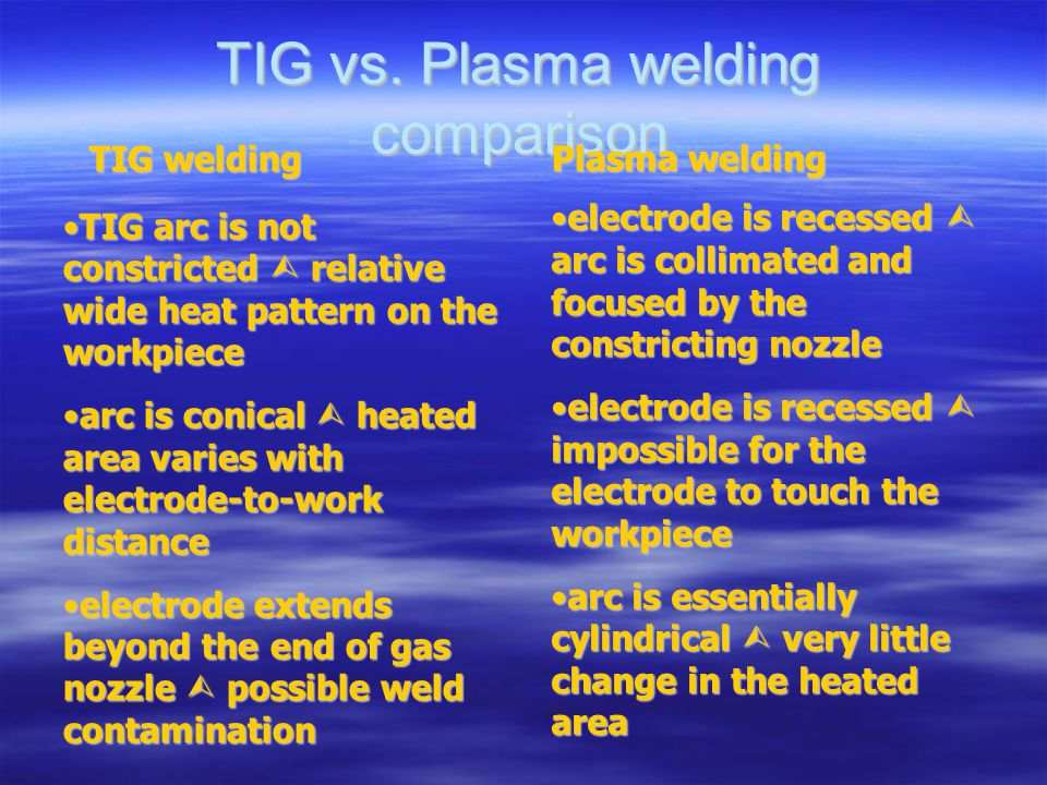 TIG vs. Plasma welding comparison