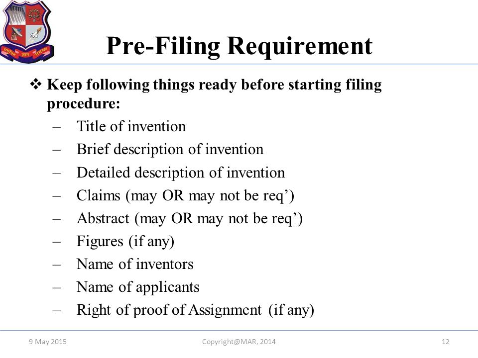 Pre-Filing Requirement