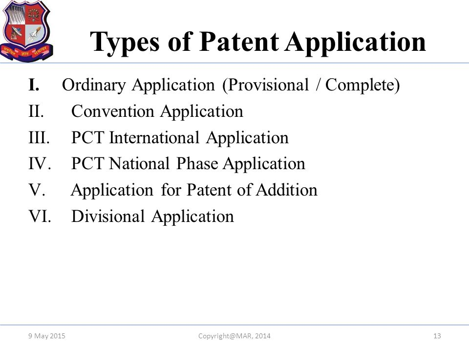 Types of Patent Application