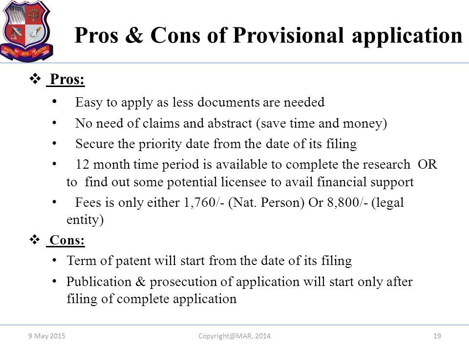 Pros & Cons of Provisional application