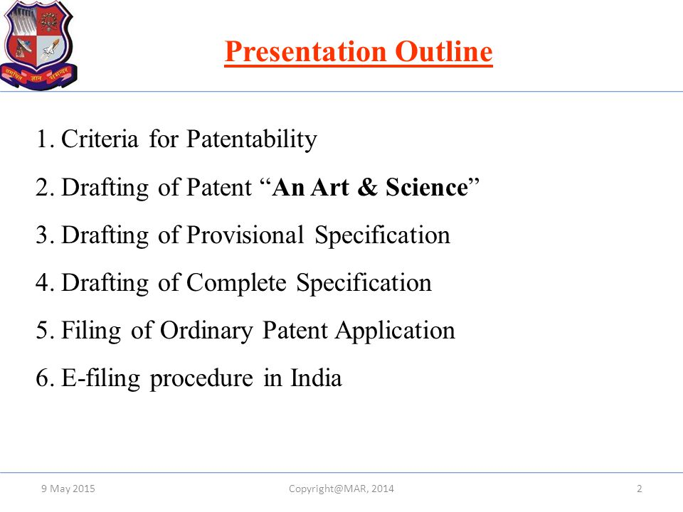 Presentation Outline Criteria for Patentability