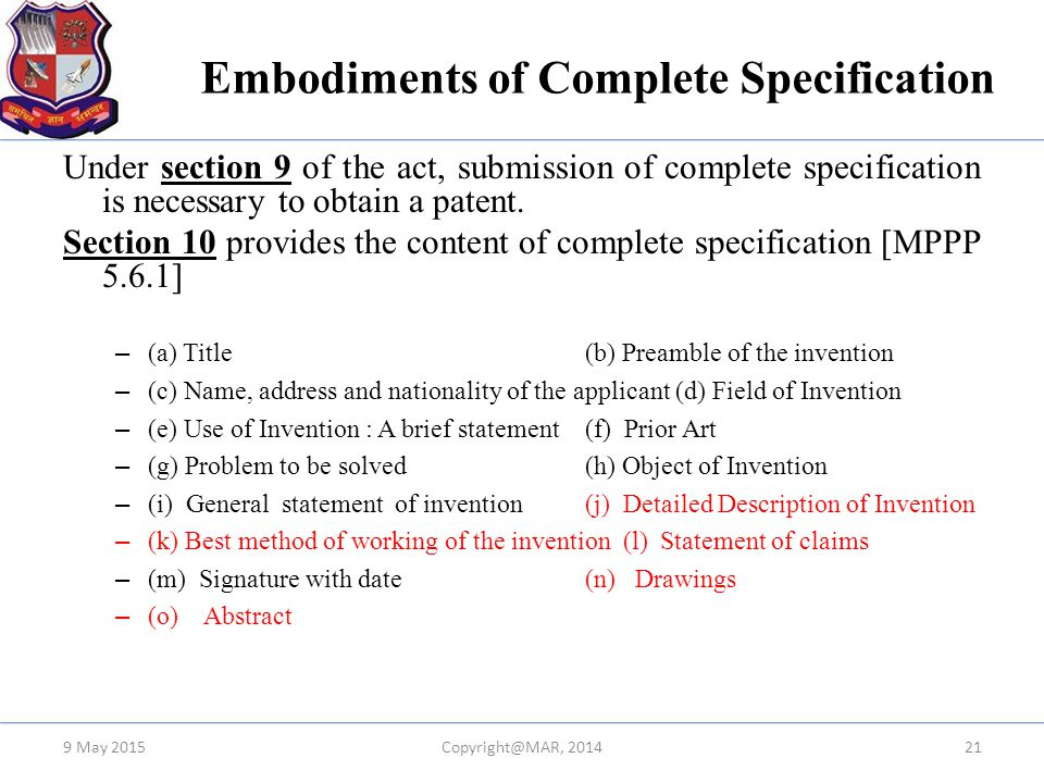 Embodiments of Complete Specification